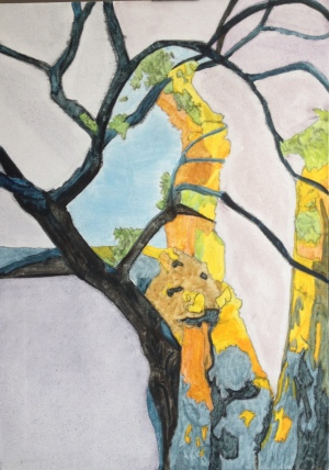 Up, into the tree (2015) oil on canvas, 59.4cm x 84.1cm
