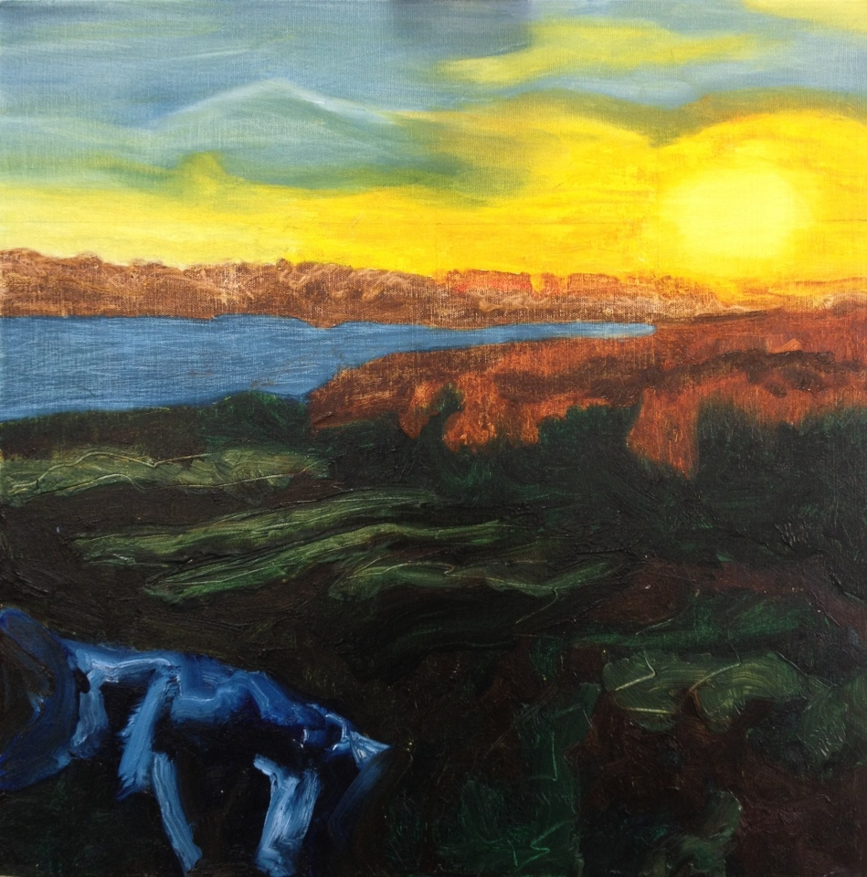 Reedbeds at sunset (2015), oil on canvas, 50cm x 50cm