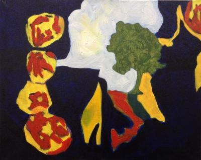 Shells + tree (2015), oil on canvas, 40.6cm x 50.8cm