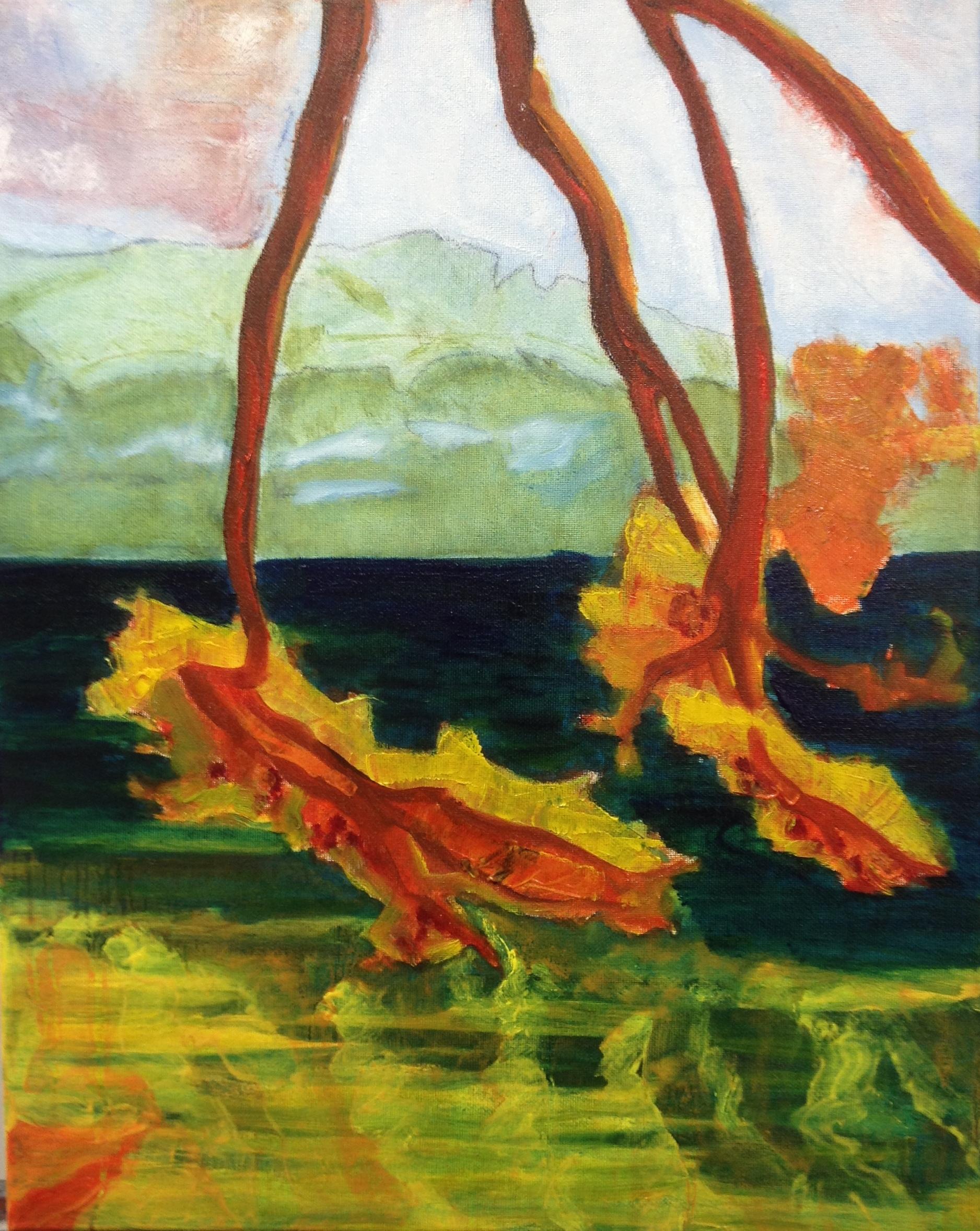 Towards the mainland II (2015), oil on canvas, 50.8cm x 40.6cm
