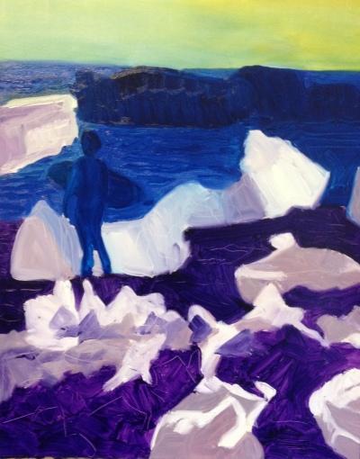 Winter surfer (2016) oil on paper, 50.8cm x 40.6cm