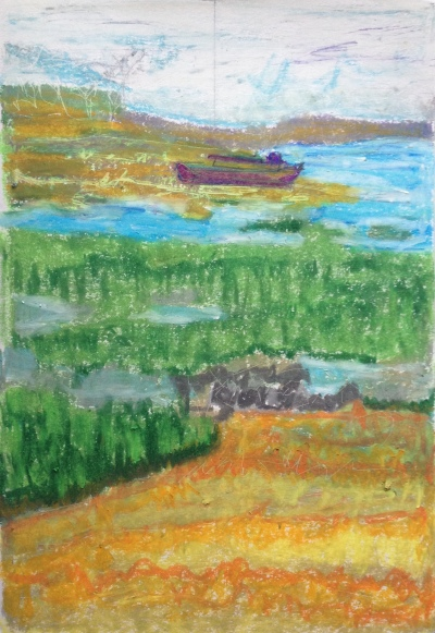 The Wreck (2016) oil pastel on paper, 297mm x 210mm