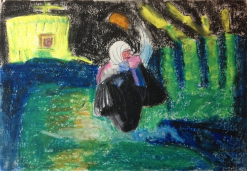 Where is home? (2016) oil pastel on paper, 210mm x 297mm