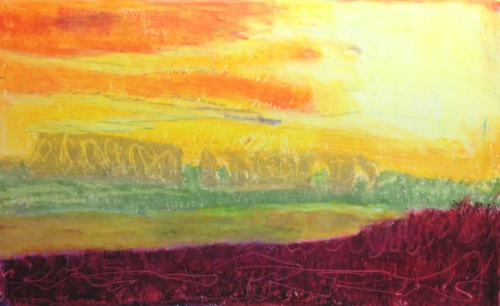 Sunset at Minsmere (2016), oil pastel