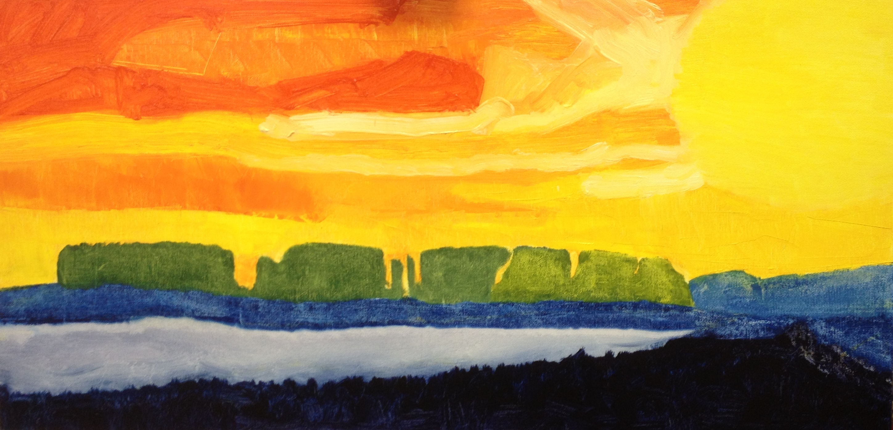 Sunset at Minsmere (2016) oil on canvas, 40cm x 80cm