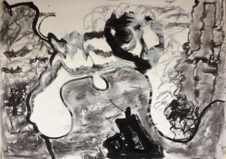 Cove (2016), charcoal, chalk and ink on paper, 29.7cm x 42cm
