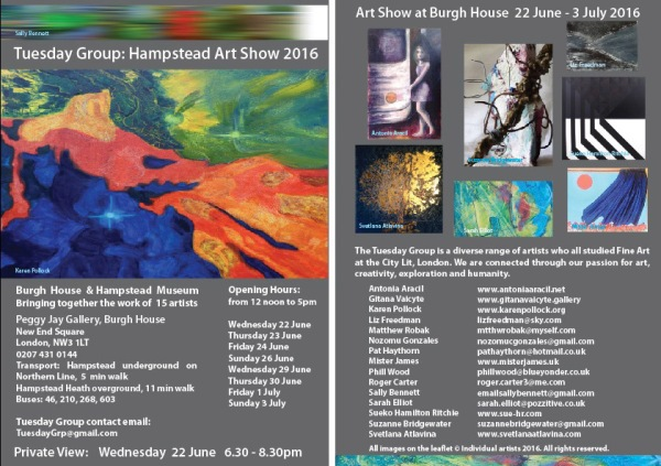 Tuesday Group - Hampstead Art Show 2016 Burgh House - Leaflet FINAL