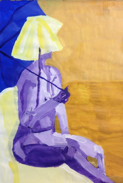 Figure with parasol (2016), acrylic on paper