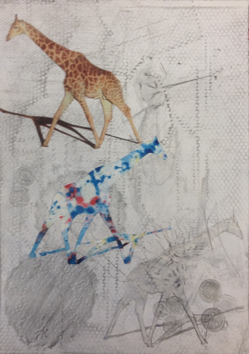 Giraffe, no giraffe (2016) mixed media on paper