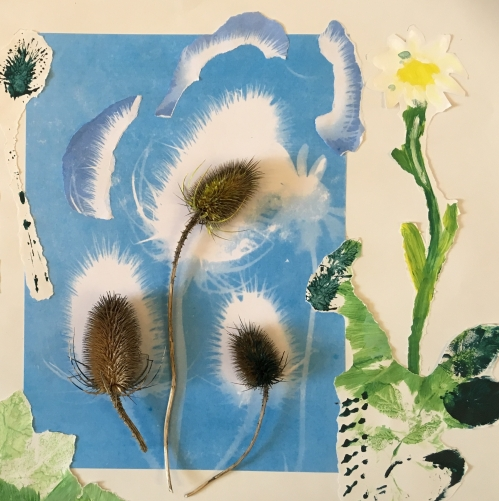 Teasels (2017) mixed media on paper