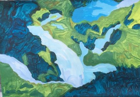 Waterfall (2019) acrylic on paper