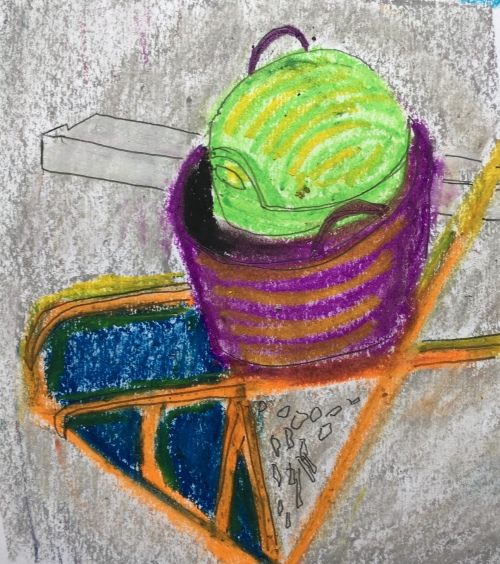 The wheelbarrow (2020) Oil pastel on paper