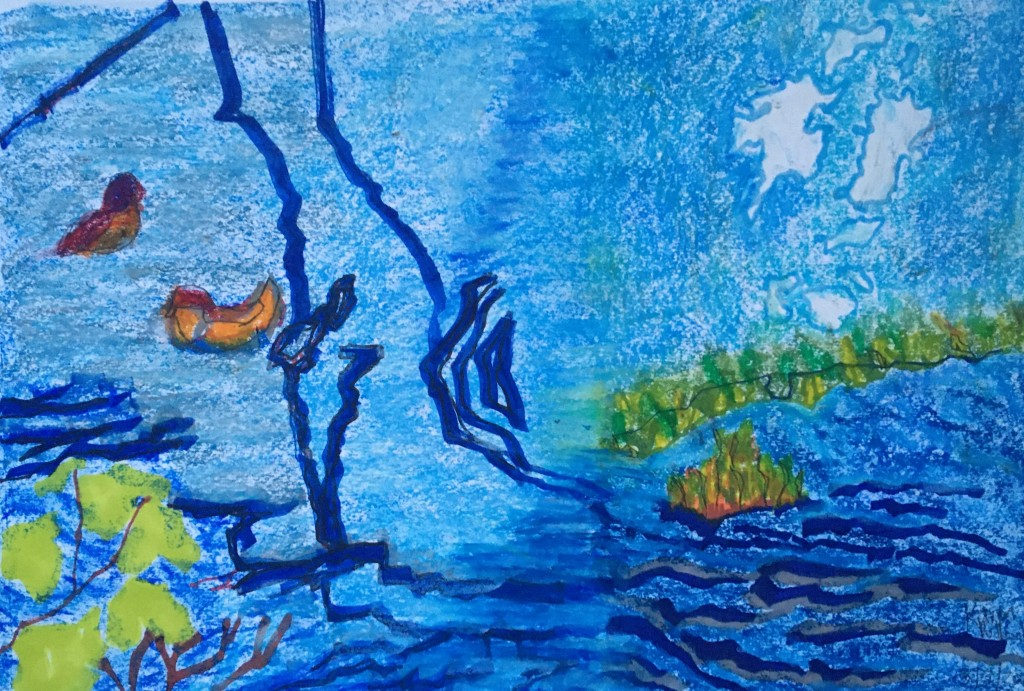 The pond (2021) marker pen, oil pastel and pencil on paper