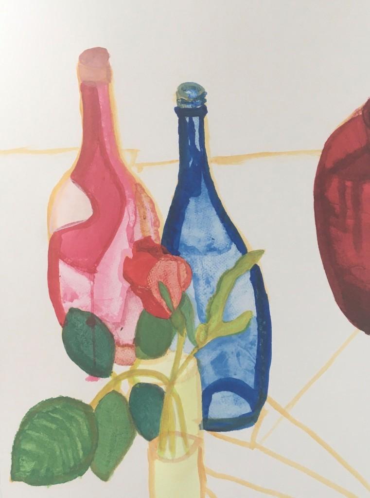 Still life (in progress) (2021) acrylic on paper